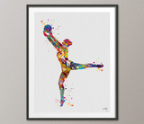 Rhythmic Gymnastics with Ball Watercolor Print Sports Art Teen Room Decor Nursery Art Sports Gift Girls Bedroom Decor Wall Art for Kids-1299 - CocoMilla