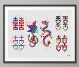 Phoenix and Dragon Double Happiness Watercolor Print Love Quote Print Wedding Gift Wall Art Chinese Valentine Calligraphy Wall Hanging-333 - CocoMilla