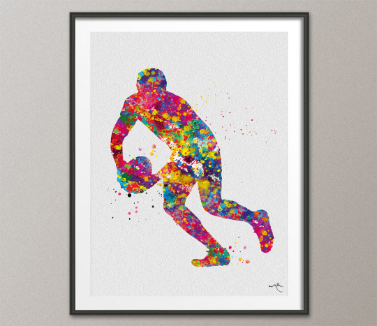 Rugby Player Watercolor Print Rugby Player Man Boy Nursery Dorm Room Ball Poster Wall Art Wall Decor Run With Your Heart Sport Wall Art-1311 - CocoMilla