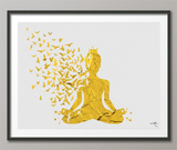 Yoga Art Gold Yogi Yoga Poster Yoga Pose Yoga Print Yoga Woman Watercolor Yoga Studio Sukhasana Pose Yoga Wall Decor Yoga Gift Yoga-929 - CocoMilla
