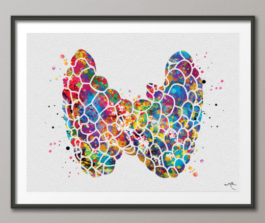 Thyroid Gland Art Watercolor Print Abstract Medical Art Science Endocrinology Art Endocrinologist Art Doctor Clinic Endocrine System -542 - CocoMilla