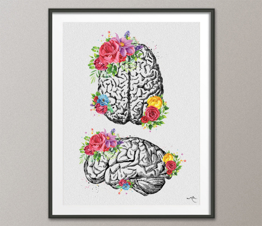 Brain Floral Watercolor Print Flowers Cerebrum Medical Art Neurology Doctor Gift Nurse Psychology Clinic Office Decor Neuroscience Art-1352 - CocoMilla