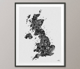 United Kingdom Map, United Kingdom Watercolor, UK Map, Great Britain Map, England Map, Travel Decor, English Home Decor, Wall Hanging-919 - CocoMilla