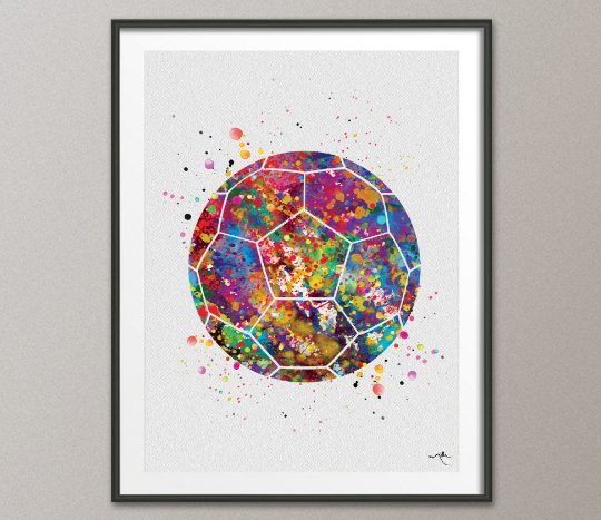 Soccer Ball Watercolor Print Soccer Man Soccer Boy Nursery Football Ball Poster Wall Art Wall Decor Run With Your Heart Sport Wall Art-507 - CocoMilla