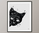 Cat Black Watercolor illustrations Art Print Animal Love Wall Art Poster Pet Love Kitten Wall Decor Art Home Decor Wall Hanging No [683] - CocoMilla