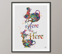 Alice in Wonderland Quote Watercolor Print We're All Mad Here Alice Art Print Nursery Wall Art Wall Decor Art Home Decor Wall Hanging-640 - CocoMilla