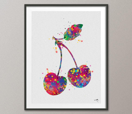 Cherry Watercolor Print Kitchen Decor Home Fruit Decor Red Cherry Decor Kitchen Wall Art Dining Room Wall Art Fruit Art Cherry Painting-945 - CocoMilla