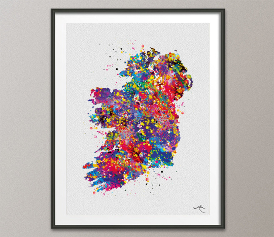 Ireland Watercolor Map illustrations Art Print Wall Wedding Gift Poster irish map Wall Decor Art Home Decor Wall Hanging [NO 391] - CocoMilla