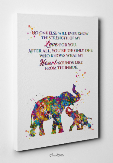 Mother And Baby Elephant Quote Watercolor Print Art Nursery Wall Art W Cocomilla