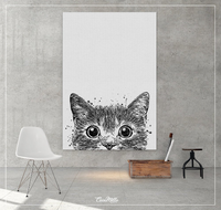 Cat Peeking Watercolor Print Peek a Boo Kitty Kittens Love Wall Art Hide and Seek Black Cat Wall Decor Nursery Decor Kids Funny Cat-709 - CocoMilla