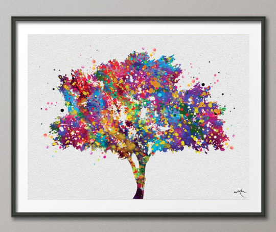 Tree Art Watercolor Print Nature Print Forest Painting Cedar Tree Print Wedding Gift Home Decor Wall Decor Nursery Decor Wall Hanging-274 - CocoMilla