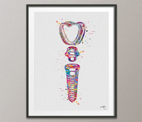 Dental Implant Art Watercolor Print Tooth Anatomical Dental Clinic Decor Dentistry Student Science Graduaiton Dentist Gift Doctor Art-317 - CocoMilla