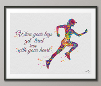 Female Runner Watercolor Print Runner Woman Girl When your legs get tired run with your heart Quote poster sport running Gift Runners-393 - CocoMilla