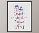 Princess and Warrior Quote art for Kids Girls Motivational inspirational Watercolor Print Wall Decor Art Home Wedding Gift Wall Hanging-262 - CocoMilla