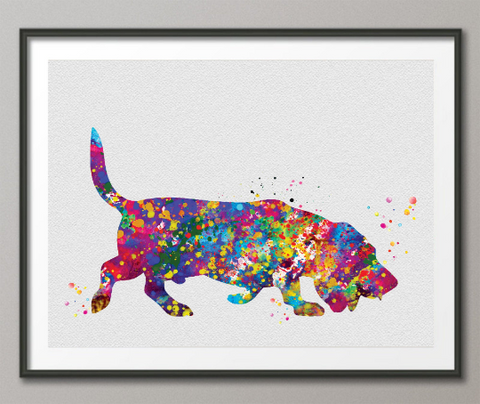 Basset Hound Dog Watercolor Dog Print Basset Hound Pet Dog Love Puppy Friend Animal Dog Pet Art Dogart Basset Hound Poster Dog Art-1442 - CocoMilla