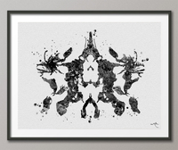 Rorschach Inkblot Test Card 10 Black Watercolor Print Psychology Psychiatry Wall Art Psychotherapist Psychologist Office Medical Art-1284 - CocoMilla