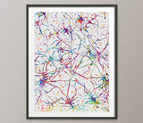 Neural Network Watercolor Print Abstract Medical Art Science Art Neurology Human Brain Psychiatry Therapy Art Doctor Poster Neuron Art-1067 - CocoMilla
