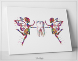 Tooth Fairy Watercolor Print Tooth Fairies Anatomical Art Dental Clinic Decor Art Dentistry Office Medical Graduaiton Dentist Gift Art-1328 - CocoMilla