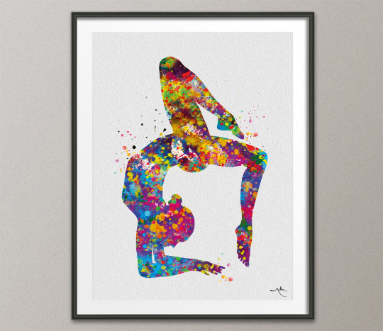 Yoga Art, Yoga Print, Yoga Girl Watercolor, Vrischikasana Pose, Yogi, Yoga Decor, Scorpion Pose, Yoga Wall Decor, Wall Hanging, Gift-1640 - CocoMilla