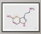 Serotonin Molecule Watercolor Print Medical Art Happiness Molecule Symbol Wall Art Nerd Art Science Art Biology Chemistry Science Decor-1147 - CocoMilla