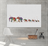 Elephant Family Mom Dad and 5 Babys Art Print Watercolor Painting Wedding Gift Wall Art Parent Gift Wall Decor Home Decor Wall Hanging-1389 - CocoMilla
