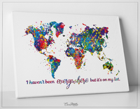 World Map Watercolor Print I Haven't Been Everywhere But It's On My List Quote Housewarming Travel Art Wall Home Decor Wall Hanging-1641 - CocoMilla
