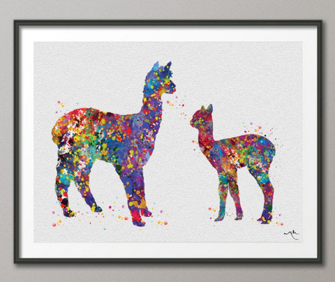 Alpaca Family Baby Llama Watercolor Print Mother Lama Newborn Baby Shower Gift Kids Nursery Wall Art Decor Kids Room Decor Wall Hanging-367 - CocoMilla