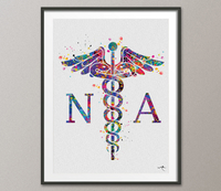 Caduceus Nurse Assistant Watercolor Print Wall Art NP Art Nurse Assistant Gift Medical Art Science Gift Home Decor Hospital Clinic Decor-999 - CocoMilla