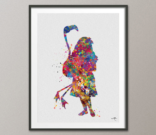 Alice with Flamingo Watercolor Print Alice in Wonderland Dorm Room Wall Art Children Decor Nursery Wall Art Kids Wall Decor Tea Party-1012 - CocoMilla