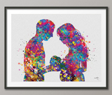 Father and Pregnant Mother with Baby Watercolor Print New Mom and Father Parents Love Gift Wall Art Family Wedding Gift Art Home Decor-1665 - CocoMilla