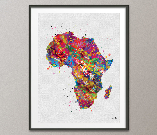 Africa Map Watercolor Print Art Print Wedding Gift Hometown Poster Homesick African Safari Wall Decor Art Home Decor Africa Wall Hanging-250 - CocoMilla