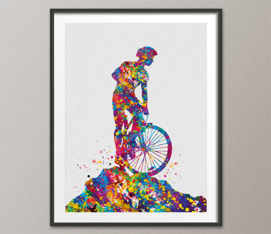 Mountain Biker Watercolor Print Dirt Bike Mountain Biker Poster Mountain Biking Stunt Racing Off-Road Bicycling Road Bike MTB Wall Art-1514 - CocoMilla