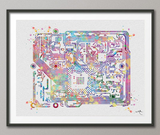 Circuit Board Watercolor Print Science Art Computer Modern Art Electronic Motherboard Engineer Technology Art Gift Poster Wall Hanging-1114 - CocoMilla