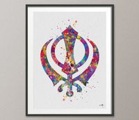 Khanda Symbol Watercolor Print Khanda Wall Art Poster Wall Decor Art Sikh Indian Wedding Gift Nursery Art Home Decor Wall Hanging-1184 - CocoMilla