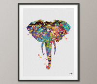Elephant Head Watercolor Painting Print African Art Geek Kids Wall Art Animal Wall Decor Wedding Gift Home Decor Wall Hanging [NO 658] - CocoMilla