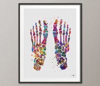 Foot Bones Watercolor Print Skeletal Foot Bones Medical Art Science Art Orthopedic Surgery Art Nurse Art Skeleton Print Clinic Decor-1004 - CocoMilla