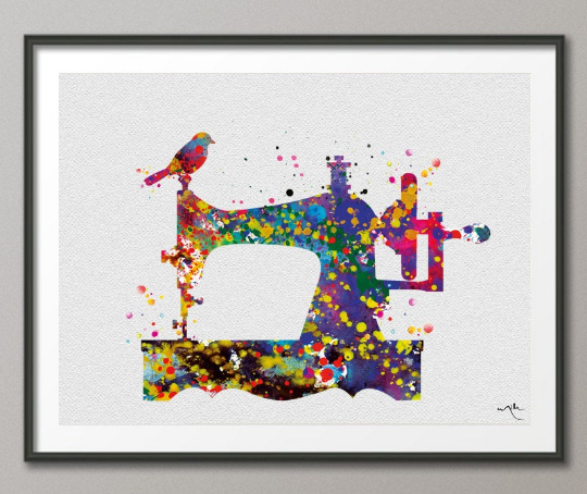 Sewing Machine Watercolor Art Print Wall Seamstress Sewing Room Wedding Gift Poster Giclee Wall Decor Art Home Decor Wall Hanging [No 185] - CocoMilla