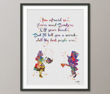 Mad Hatter and Alice in Wonderland Quote 1 Watercolor Print Tea Time Kitchen Art For Kids Nursery Wedding gift Wall Hanging [NO 434] - CocoMilla