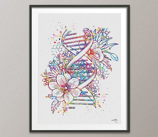DNA Floral Art Watercolor Print DNA Helix Structure Medical Wall Art Science Art Genetic Doctor Office Clinic Laboratory Biology Decor-1634 - CocoMilla