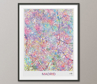 Madrid City Map Print Watercolor Art Print Wall Art Spain Madrid Street Map Travel Wanderlust Decor Wall Hanging Map of Madrid [NO 810] - CocoMilla