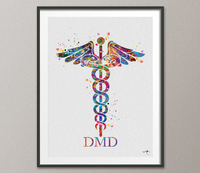 Dentist Caduceus Watercolor Print DMD Medical Art Dental Cabinet Office Clinic Dentistry Art Gift Doctor Tooth Teeth Decor Science Art-279 - CocoMilla