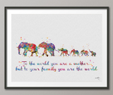 Elephant Family Mom Dad and Four Baby Watercolor Print Quote Art Wedding Gift Family Print Wall Art Home Decor Housewarming Wall Prints-1648 - CocoMilla
