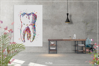 Human Tooth Watercolor Print Tooth Anatomical Art Dental Clinic Decor Art Dentistry Office Science Graduaiton Dentist Gift Doctor Art-305 - CocoMilla