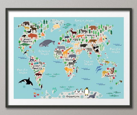Animal World Map, Animal Map, Worl Map Print, Kids World Map, For Kids, Dorm Room, Nursery Decor, Wall Art, Art Print, World Map Animal-862 - CocoMilla