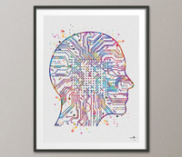 Artificial Intelligence Brain Watercolor Print Tech Abstract Circuit Board Nerd Science Art Computer Nano Technology Circuit Board Art-206 - CocoMilla