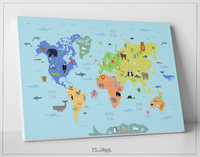 Animal World Map, Wild Animal Map, Canvas Print, Kids World Map, For Kids, Nursery Decor, Wall Art, Animal Print, World Map Animal-1644 - CocoMilla