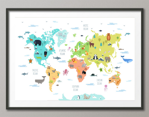 Animal World Map, Wild Animal Map, Canvas Print, Kids World Map, For Kids, Nursery Decor, Wall Art, Animal Print, World Map Animal-1643 - CocoMilla