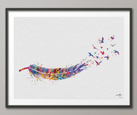 Feather and Watercolor Birds inspirational Print Wedding Gift Wall Art Poster Nature Wall Decor Bird Print Art Home Decor Wall Hanging-659 - CocoMilla