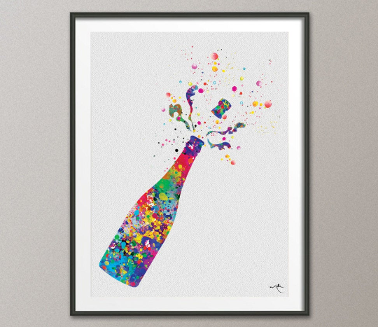 Champagne Watercolor Print Bar Decor Champagne Bottle Kitchen Alcohol Drinking Decor Home Party Greeting Celebration Champagne Popping-949 - CocoMilla