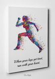 Runner Woman Watercolor Print Female Runner Girl When your legs get tired run with your heart Quote poster sport running Gift Runners-1549 - CocoMilla